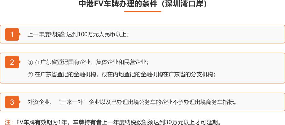 2 中港FV车牌办理的条件(深圳湾口岸)