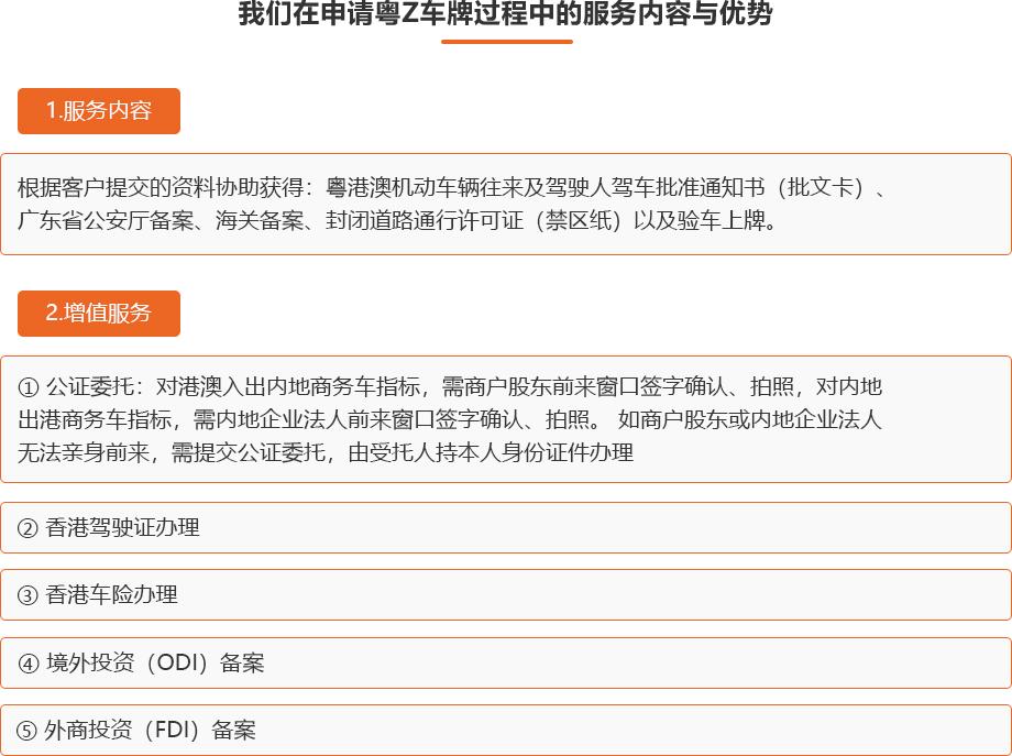 4 我们在申请粤Z 车牌过程中的服务内容与优势